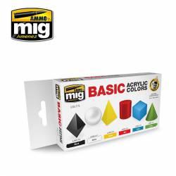 Set de colores acrílicos básicos.