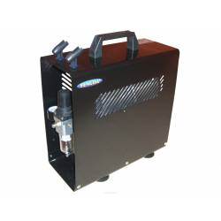 Air compressor with metal case.