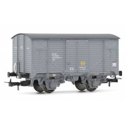 Vagón cerrado gris J, chasis gris.