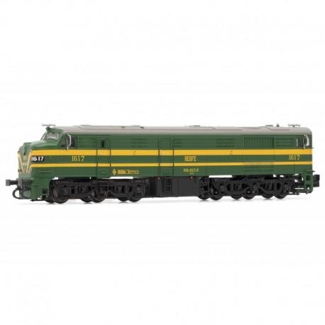 Locomotora 316-017, verde y amarillo. RENFE.