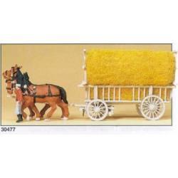 Carro de caballos cargado de paja. PREISER 30477
