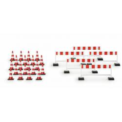 Set of traffic cones and barriers.