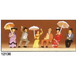 Personas sentadas de época (1900). PREISER 12136