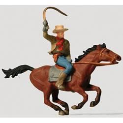 Cowboy on horseback.
