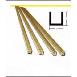 Brass profile U. 2,5 x 2,5 mm.