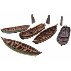 Conjunto de botes de remos.