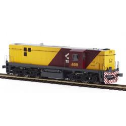 Diesel locomotive TBA 654. Sound.
