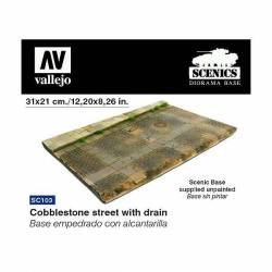 Cobblestone street with drain.