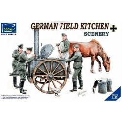 Lunch time. German field kitchen with soldiers.