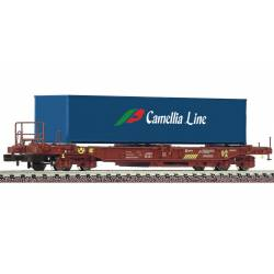 """Vagón portacontenedores """"Camellia Line"""", RENFE."""