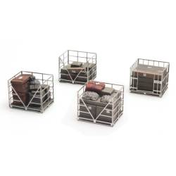 Metal cage pallets.