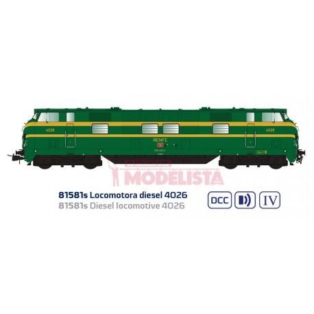 Diesel locomotive 4026, RENFE. Sound.