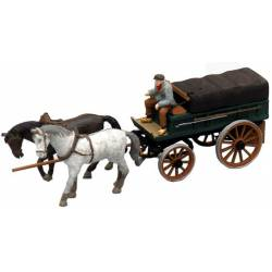 Covered farmer's wagon.