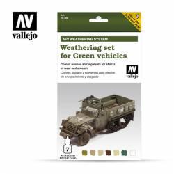 Set de envejecido para vehículos verdes. VALLEJO 78406