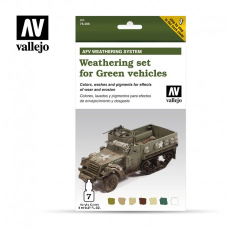 Weathering set for green vehicles. VALLEJO 78406