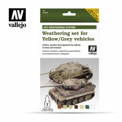 Weathering set for yellow/grey vehicles.