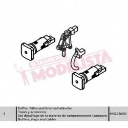 """Buffers, steps and cables for 141F-2410 """"Mikado"""", RENFE."""