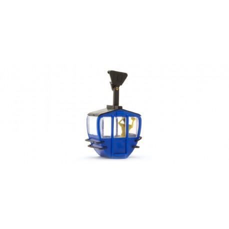 Cabina de teleférico, azul.