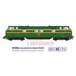 Diesel locomotive 4020, RENFE. Sound.
