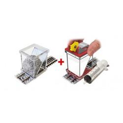 Dosificador de balasto y aplicador de cola.