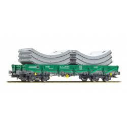Vagón plataforma Rmms, con carga.