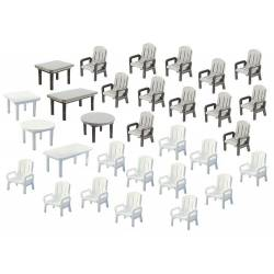 24 garden chairs and 6 tables.