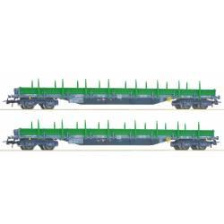 Set de 2 vagones plataforma con teleros, RENFE.