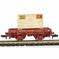 Vagón borde bajo RENFE. Cajón de madera.