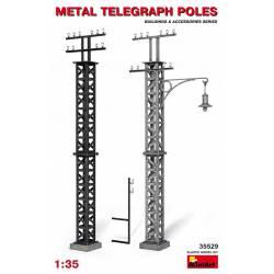 Metal telegraph poles.