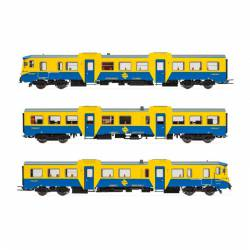 "3-unit DMU class 592 ""blue/yellow"", RENFE. Sound."