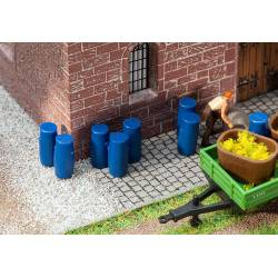 Plastic barrels.