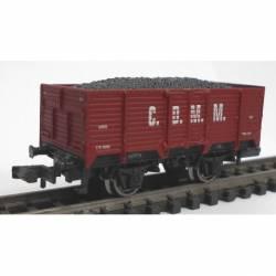 Vagón abierto rojo óxido.