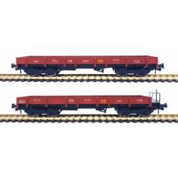 Set 2 vagones borde bajo serie MM, RENFE. Rojo óxido.
