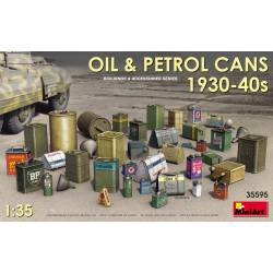 Oil and petrol cans, 1930-40s.