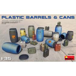 Plastic barrels and cans.
