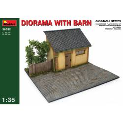 Diorama with barn.