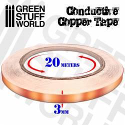 Cinta conductiva de cobre, adhesiva.