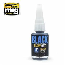 Cianocrilato negro, secado lento.