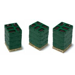 Pallets with bottle boxes.