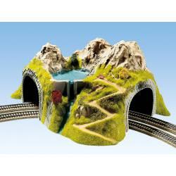 Túnel en curva, una vía.