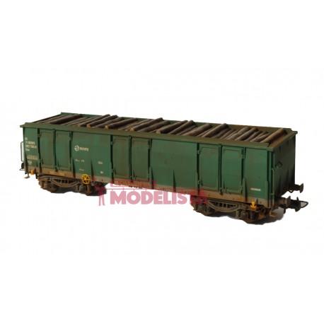 Vagón Ealos con madera, RENFE. Envejecido.