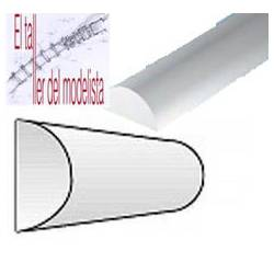 Perfiles media caña de estireno 1,5 mm.