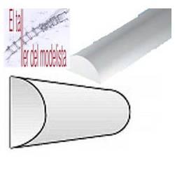 Perfiles media caña de estireno 2,5 mm.