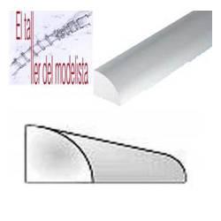 Perfiles 1/4 de tubo de estireno 2,5 mm.