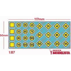 Train signs: Temporal speed limitation. ETM 9017