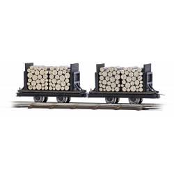 Set de vagonetas con troncos. H0f.