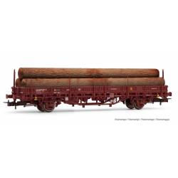 Vagón plataforma tipo M1, RENFE. Carga de troncos.