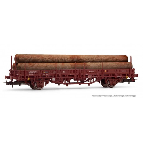 RENFE, M1 wagon, loaded with logs.