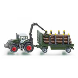 Tractor with wood trailer.