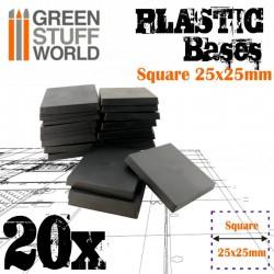 Plastic bases - square, 25 mm (x20).